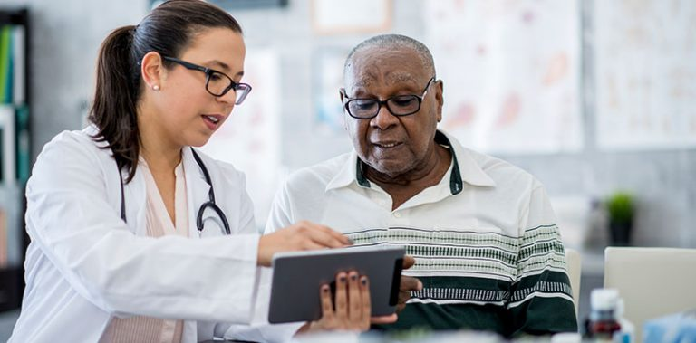 A doctor is discussing with her patient